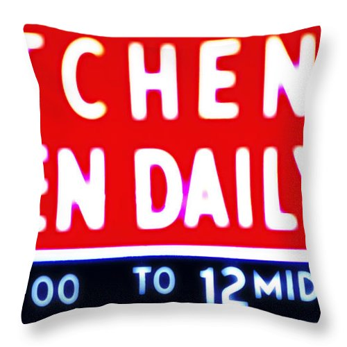 Kitchen Throw Pillow featuring the photograph Kitchen Open Daily by Bill Cannon