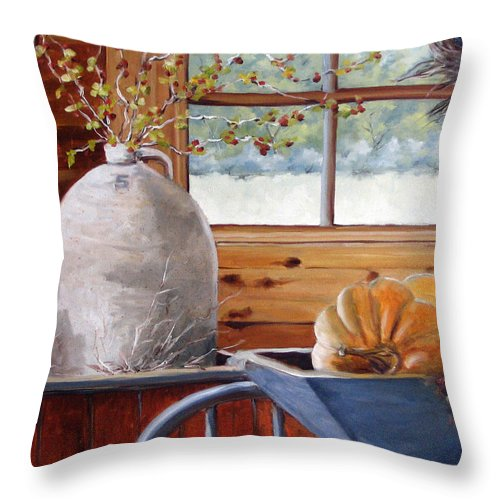 Kitchen Throw Pillow featuring the painting Kitchen Scene by Richard T Pranke