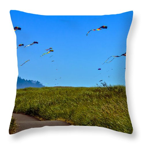 Haybales Throw Pillow featuring the photograph Kites by Robert Bales