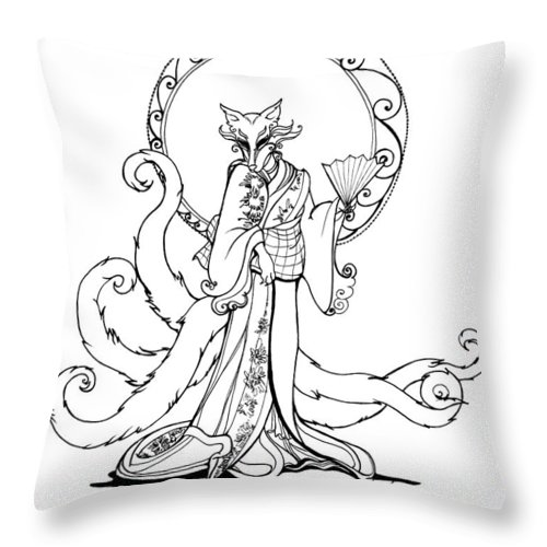 Foxy Throw Pillow featuring the drawing Kitsune Lady by Katherine Nutt