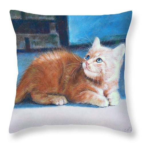 Cats Throw Pillow featuring the painting Kitten by Iliyan Bozhanov