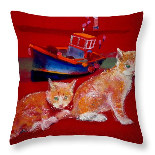 Kittens Throw Pillow featuring the painting Kittens On The Beach by Charles Stuart