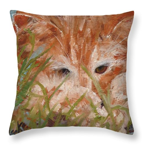 Animals Throw Pillow featuring the painting Kitty Adventures by Barbara Andolsek