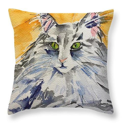 Cat Throw Pillow featuring the painting Kitty by Bonny Butler