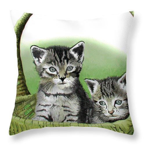 Cat Throw Pillow featuring the painting Kitty Caddy by Ferrel Cordle