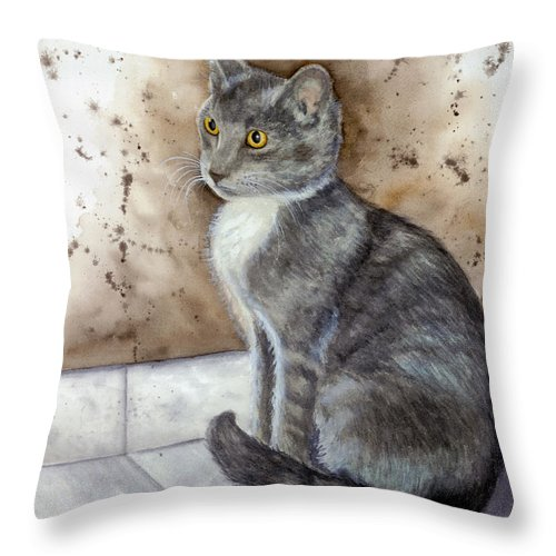 Cat Throw Pillow featuring the painting Kitty by Mary Tuomi