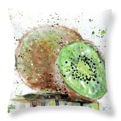 Kiwi Throw Pillow featuring the painting Kiwi 2 by Arleana Holtzmann