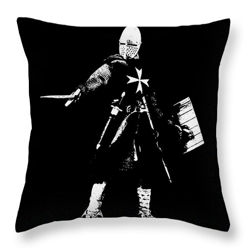 Knight Hospitaller Throw Pillow featuring the painting Knight Hospitaller - 02 by Andrea Mazzocchetti