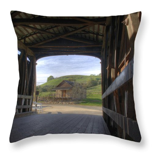 Knights Ferry Throw Pillow featuring the photograph Knights Ferry Covered Bridge by Jim And Emily Bush