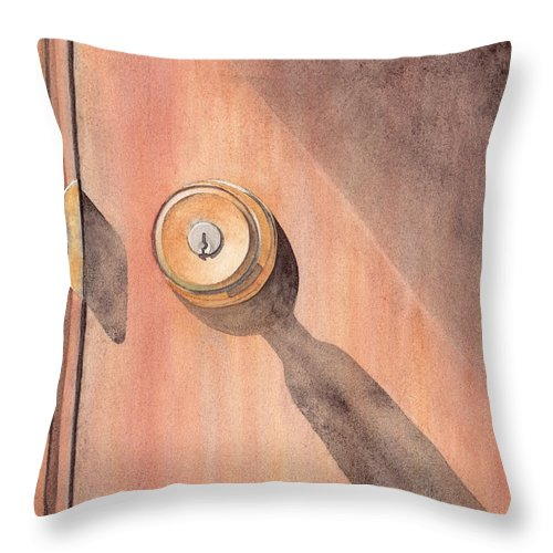 Door Throw Pillow featuring the painting Knob And Shadow by Ken Powers