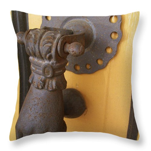 Throw Pillow featuring the photograph Knock Knock by Laurette Escobar