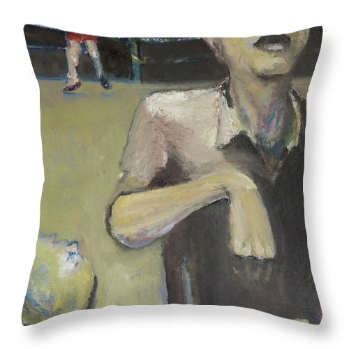 Boxing Throw Pillow featuring the painting Knock Out by Craig Newland