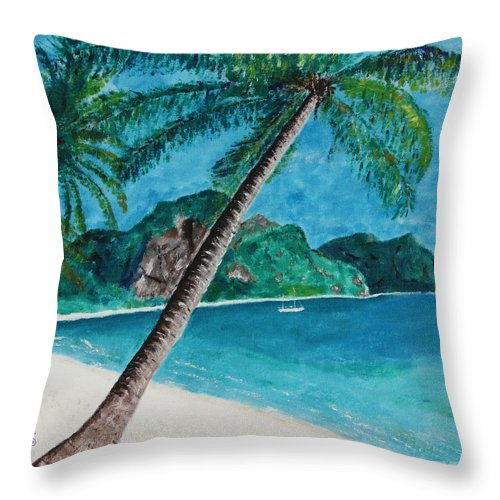 Landscape Throw Pillow featuring the painting Ko Phuket by Mikhael van Aken