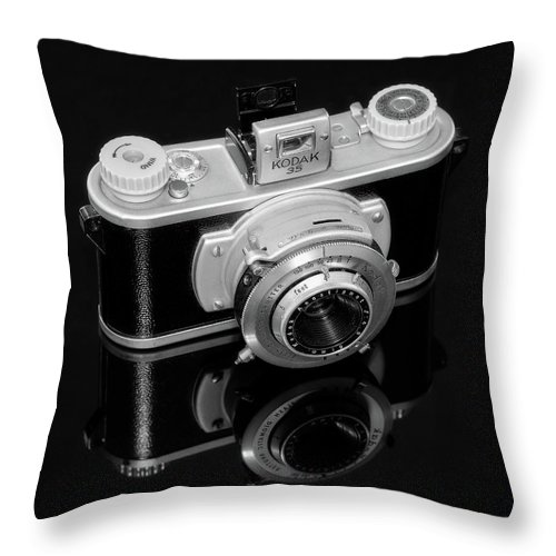 Antique Throw Pillow featuring the photograph Kodak 35 Camera by Jon Woodhams
