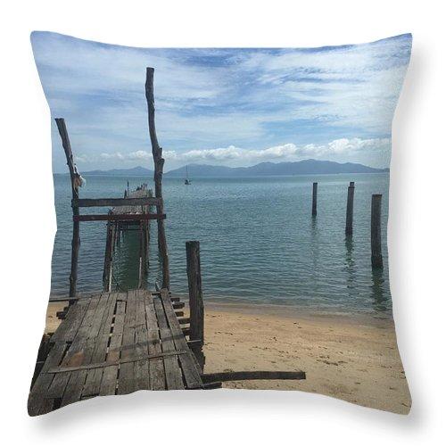 Thailand Throw Pillow featuring the photograph Koh Samui Pier by Steven Miller