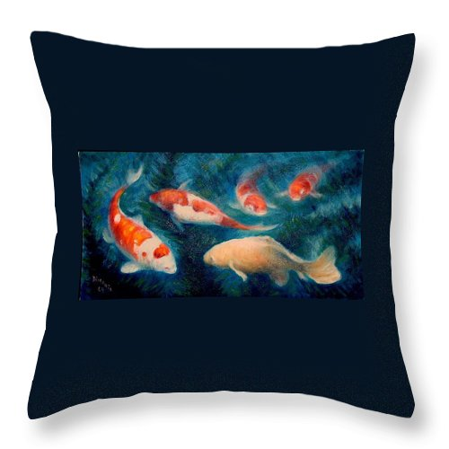 Realism Throw Pillow featuring the painting Koi Ballet 2 by Donelli DiMaria
