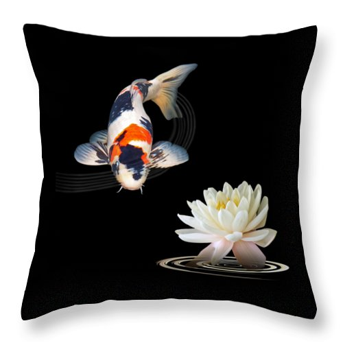 Fish Throw Pillow featuring the photograph Koi Carp Abstract With Water Lily Square by Gill Billington