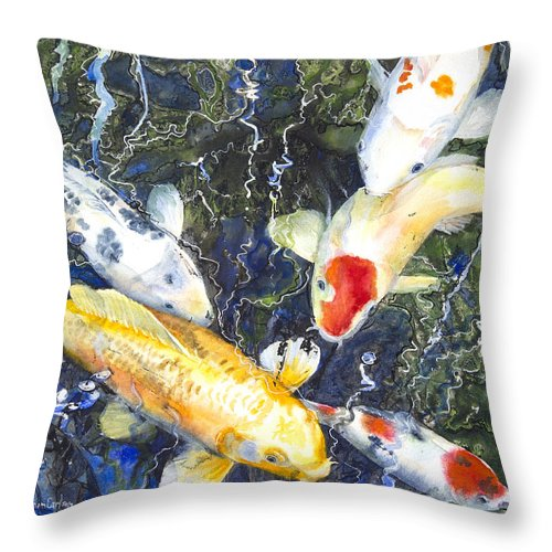 Art Throw Pillow featuring the mixed media Koi Deep Blue by Patricia Allingham Carlson