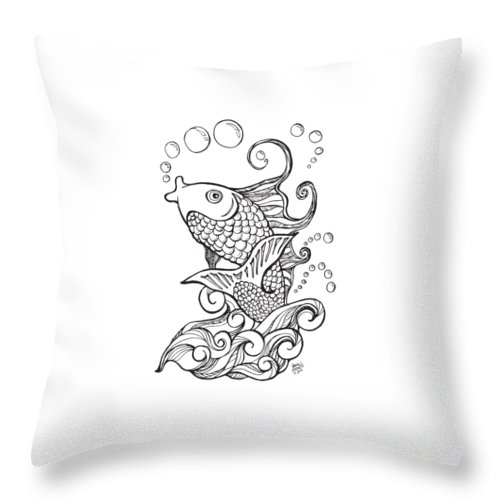 Koi Fish And Water Waves Throw Pillow For Sale By Laura Ostrowski