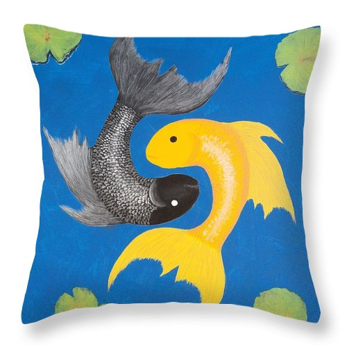 Yin Yang Throw Pillow featuring the painting Koi Yin-yang by Daniel McQuestion