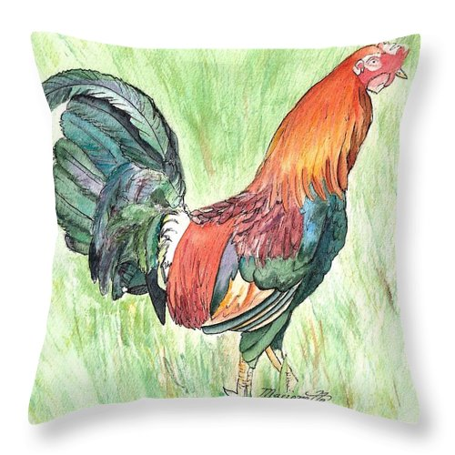 Roosters Throw Pillow featuring the painting Kokee Rooster by Marionette Taboniar