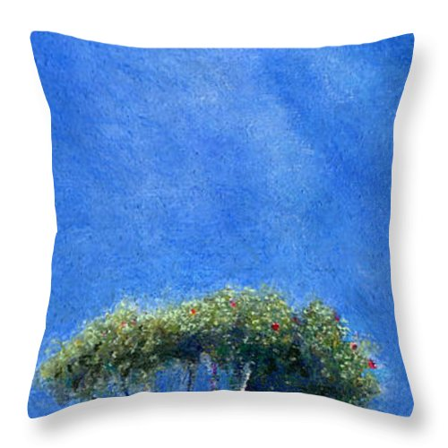 Rainbow Colors Pastel Throw Pillow featuring the painting Kokee Trees by Kenneth Grzesik