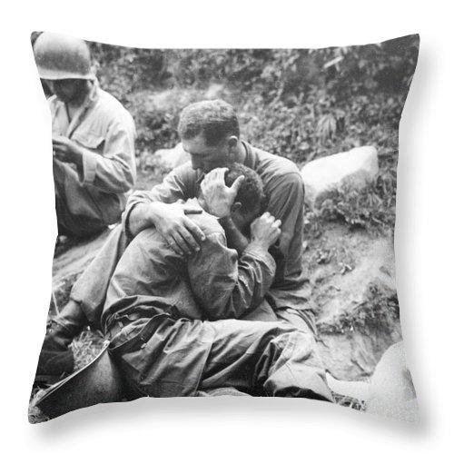 1950 Throw Pillow featuring the photograph Korean War, 1950 by Granger