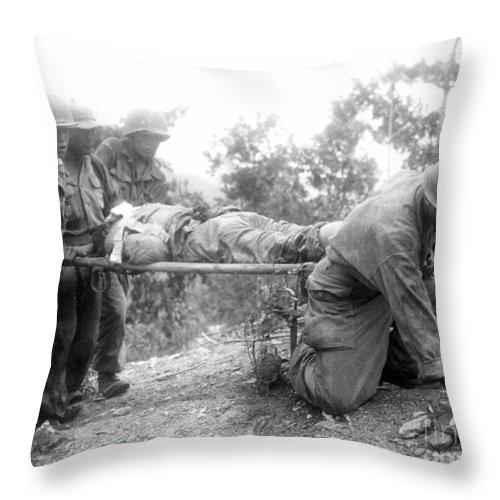 1952 Throw Pillow featuring the photograph Korean War, 1952 by Granger