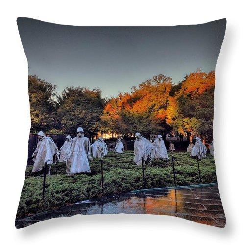 #wwpw Throw Pillow featuring the photograph Korean War Memorial In Washington Dc by Victoria Porter