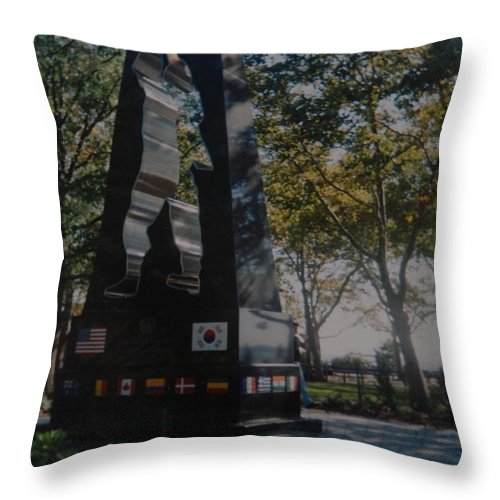 Korea Throw Pillow featuring the photograph Korean War Memorial by Rob Hans