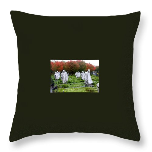 This Is A Photo Of The Korean War Memorial In Washington D.c. Throw Pillow featuring the photograph Korean War Memorial by William Rogers