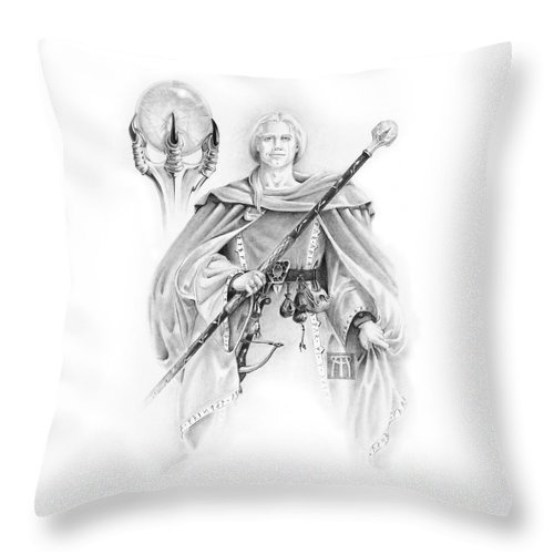 Wizard Throw Pillow featuring the drawing Korranderaythe Von Cristalvasser by Melissa A Benson