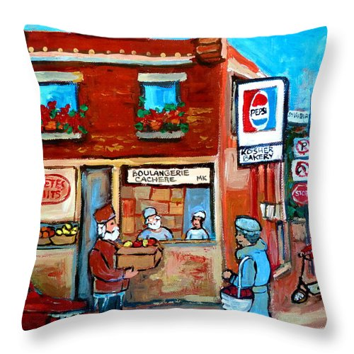 Kosher Bakery Throw Pillow featuring the painting Kosher Bakery On Hutchison Street by Carole Spandau