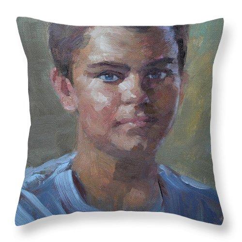 Kostandinos Throw Pillow featuring the painting Kostandinos by Ylli Haruni
