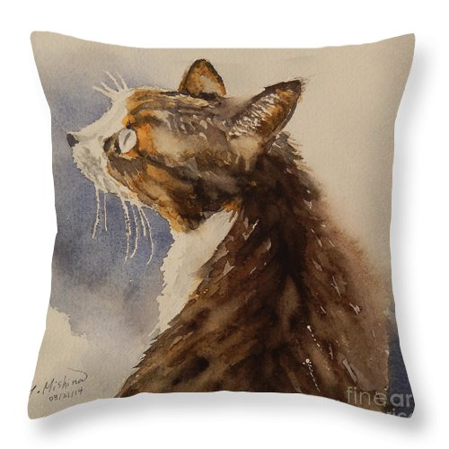 Cat Throw Pillow featuring the painting Kotora - My Parents Cat by Yoshiko Mishina
