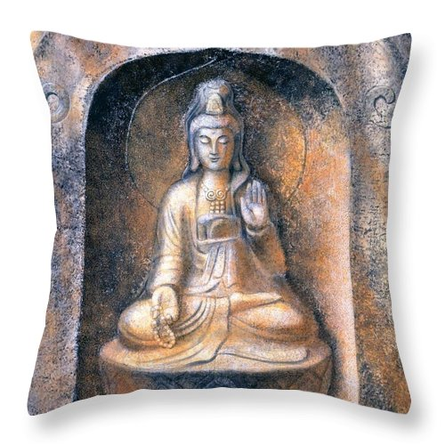Kwan Yin Throw Pillow featuring the painting Kuan Yin Meditating by Sue Halstenberg