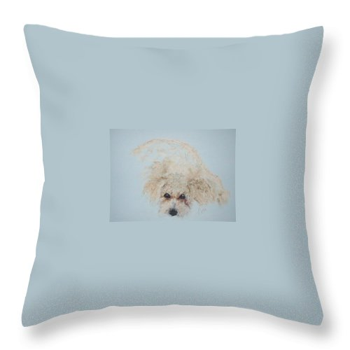 Dog Throw Pillow featuring the drawing Kuku by Cori Solomon