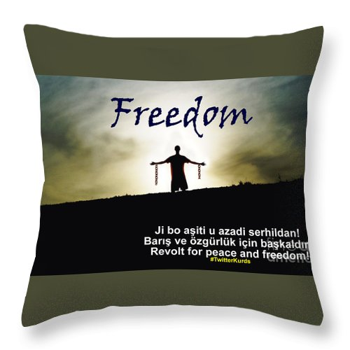 Kurdish Peace And Freedom Poster Throw Pillow featuring the painting Kurdish Peace And Freedom Poster by Celestial Images