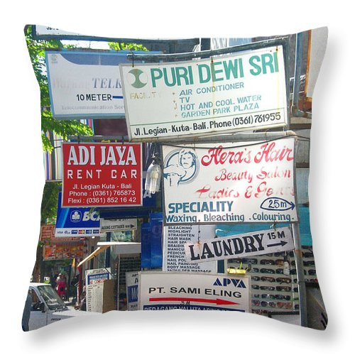 Bali Throw Pillow featuring the photograph Kuta Street Signs -- Bali by Mark Sellers