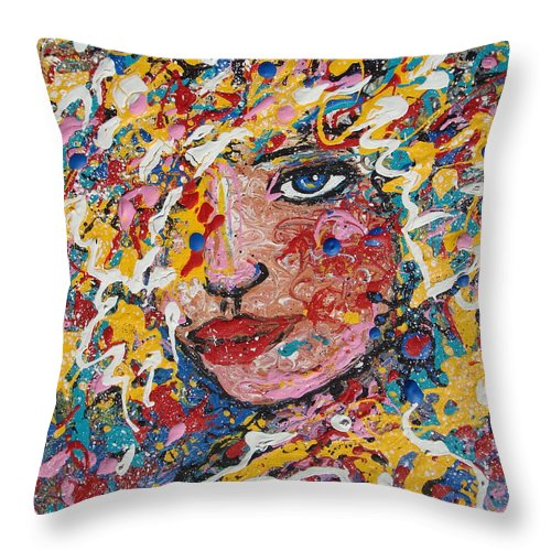 Woman Throw Pillow featuring the painting Kuziana by Natalie Holland