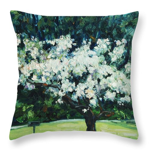 San Francisco Throw Pillow featuring the painting Kwanzan I by Rick Nederlof