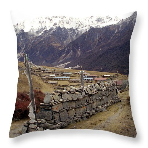 Langtang Throw Pillow featuring the photograph Kyanjin Gompa by Patrick Klauss