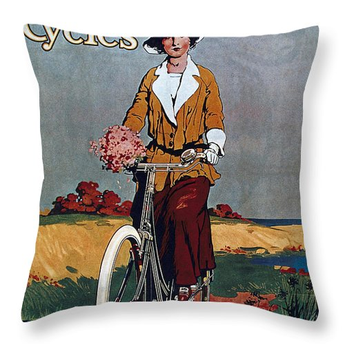 Vintage Throw Pillow featuring the mixed media Kynoch Cycles - Bicycle - Vintage Advertising Poster by Studio Grafiikka