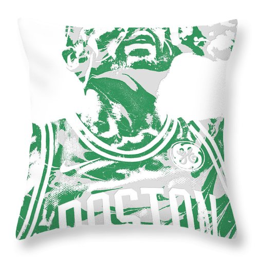 5c1e17e2414 Kyrie Irving Throw Pillow featuring the mixed media Kyrie Irving Boston  Celtics Pixel Art 41 by