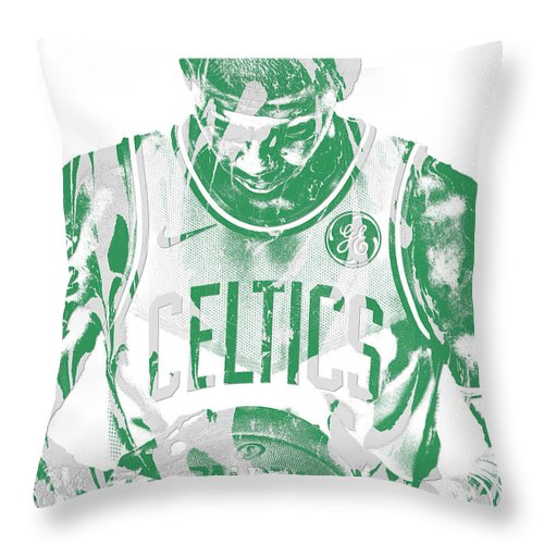 Kyrie Irving Throw Pillow featuring the mixed media Kyrie Irving Boston Celtics Pixel Art 5 by Joe Hamilton