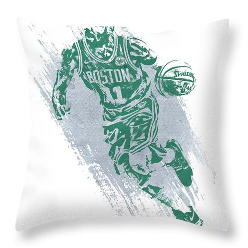 Kyrie Irving Throw Pillow featuring the mixed media Kyrie Irving Boston Celtics Water Color Art 2 by Joe Hamilton