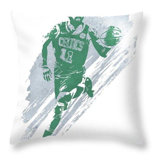 Kyrie Irving Throw Pillow featuring the mixed media Kyrie Irving Boston Celtics Water Color Art 4 by Joe Hamilton