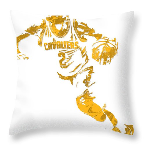 Kyrie Irving Throw Pillow featuring the mixed media Kyrie Irving Cleveland Cavaliers Pixel Art 11 by Joe Hamilton