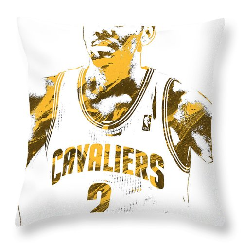 Kyrie Irving Throw Pillow featuring the mixed media Kyrie Irving Cleveland Cavaliers Pixel Art 3 by Joe Hamilton