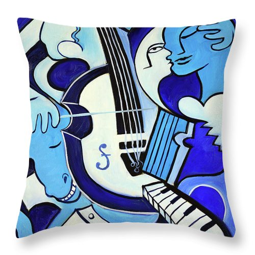 Abstract Throw Pillow featuring the painting L amour ou quoi 2 by Valerie Vescovi